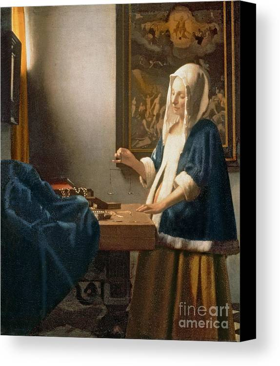 Vermeer Canvas Print featuring the painting Woman Holding A Balance by Jan Vermeer