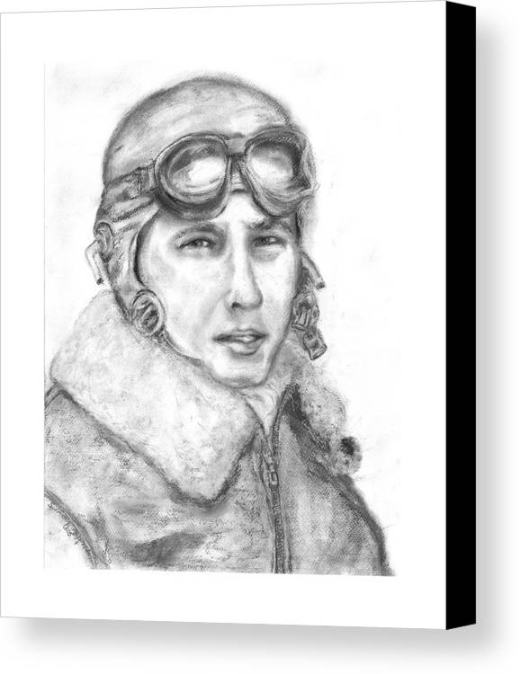 Portrait Of A World War Ii Canvas Print featuring the painting Wwii B17 Gunner by Suzanne Reynolds
