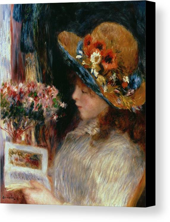Young Girl Reading Canvas Print featuring the painting Young Girl Reading by Pierre Auguste Renoir