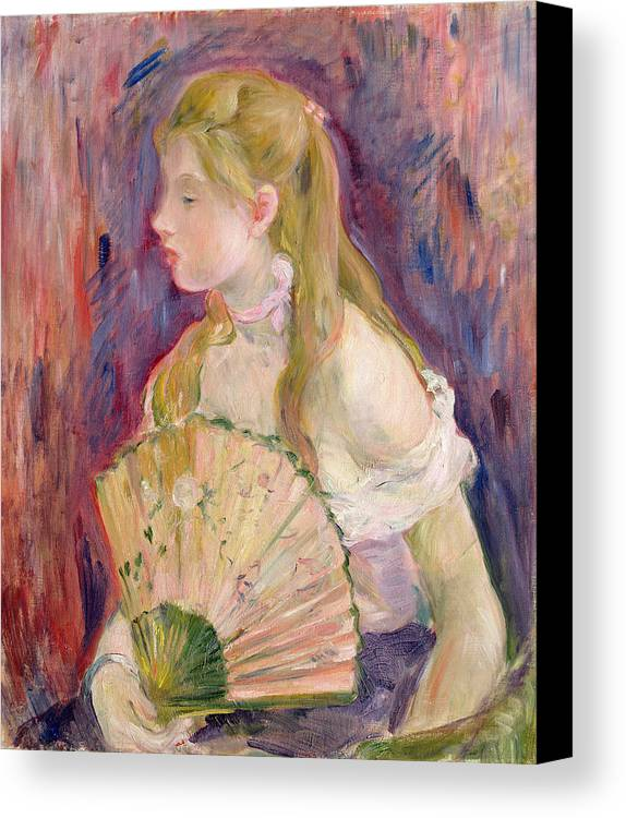 Young Canvas Print featuring the painting Young Girl With A Fan by Berthe Morisot