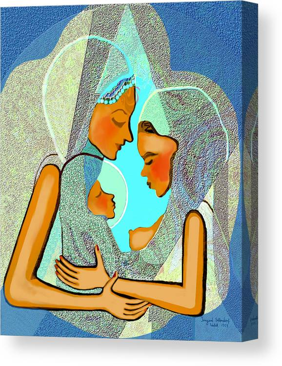 Women Canvas Print featuring the painting 043 - Take Care Of The Child by Irmgard Schoendorf Welch