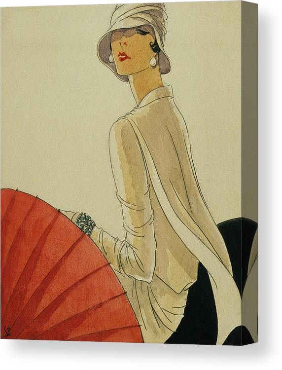 Illustration Canvas Print featuring the digital art A Woman Sitting Wearing A White Jacket And Pearl by Porter Woodruff