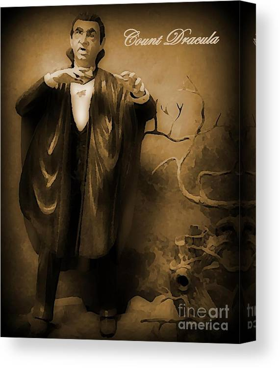 Nightmares Canvas Print featuring the painting Count Dracula In Sepia by John Malone