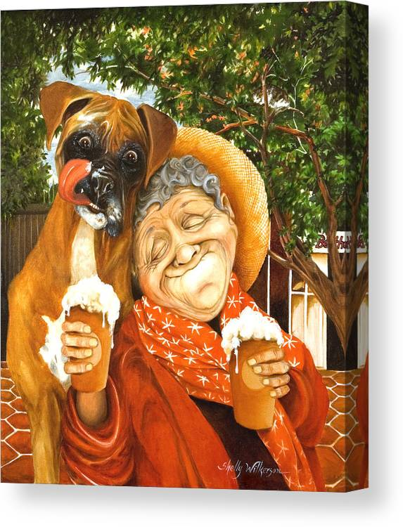 Boxer Canvas Print featuring the painting Daisy's Mocha Latte by Shelly Wilkerson