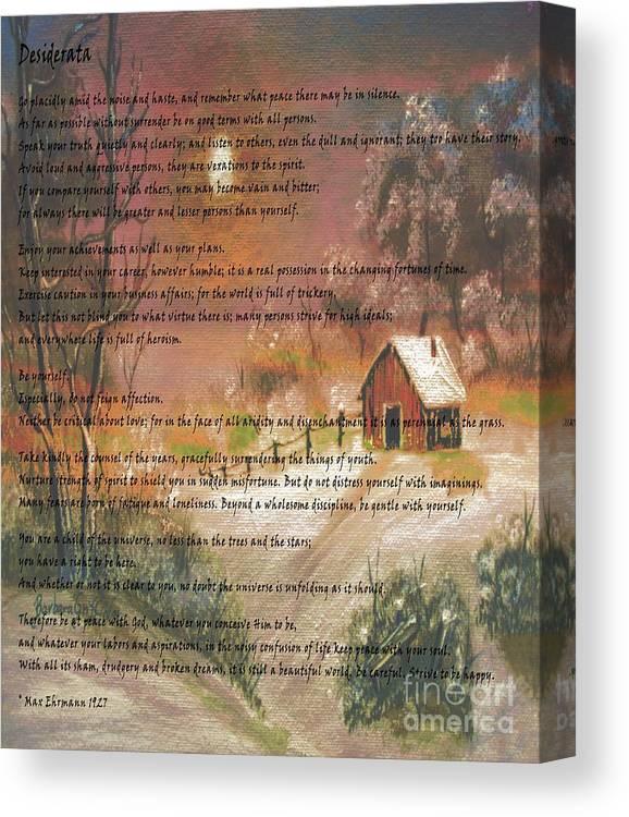 Desiderata Canvas Print featuring the photograph Desiderata On Snow Scene With Cabin by Barbara Griffin