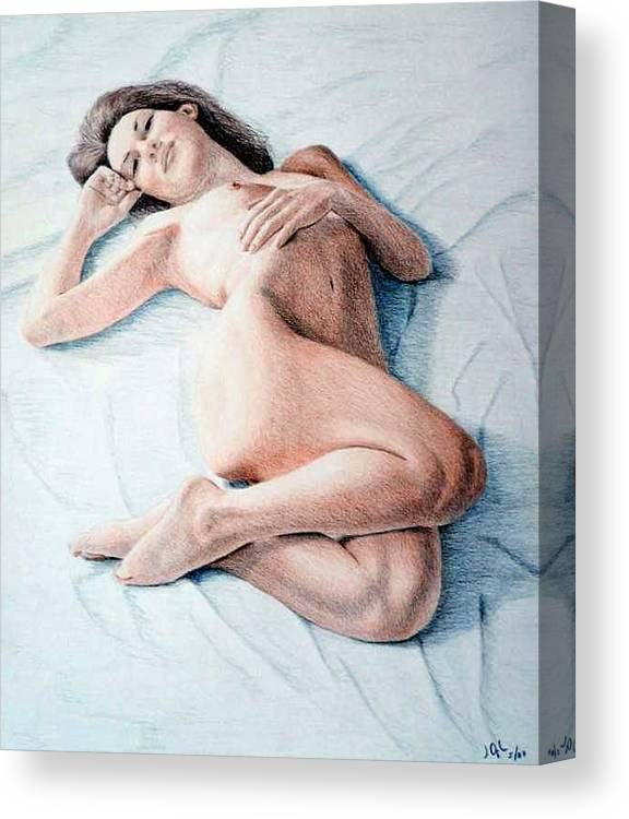 Joe Ogle Canvas Print featuring the drawing Dreamy by Joseph Ogle