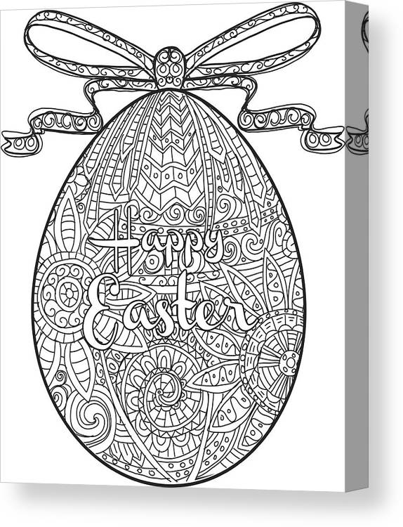 Happy Easter Coloring Book Page Egg Design With Text Greeting Canvas ...