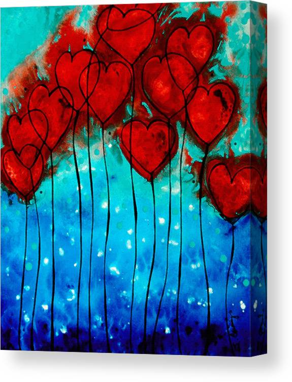 Red Canvas Print featuring the painting Hearts On Fire - Romantic Art By Sharon Cummings by Sharon Cummings