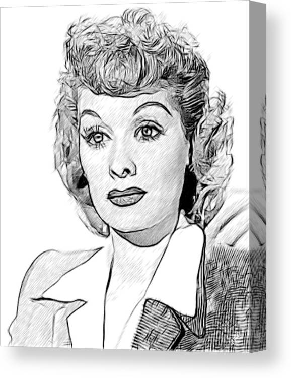 Celebrity Canvas Print featuring the drawing Lucille Ball 002 by Dean Wittle