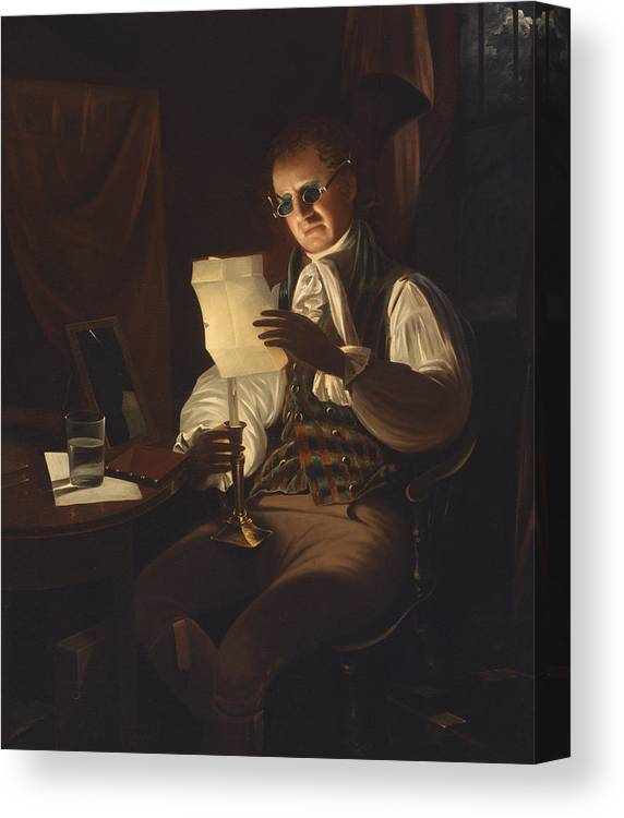 Peale Canvas Print featuring the painting Man Reading By Candlelight by Rembrandt Peale