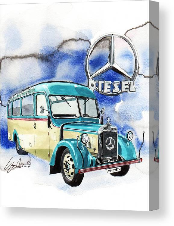 Mercedes Benz D-2600 Bus Canvas Print featuring the painting Mercedes Benz D-2600 Bus by Yoshiharu Miyakawa
