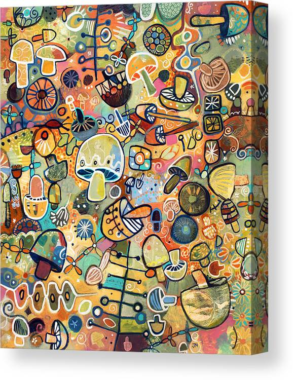 Jen Norton Canvas Print featuring the painting Mid Century Mushroom Madness  by Jen Norton 9f91881d7bb5d