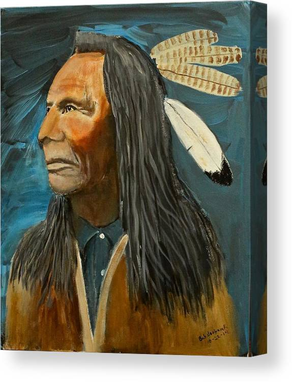 Indian Feathers Canvas Print featuring the painting Native Land by Bob Hasbrook