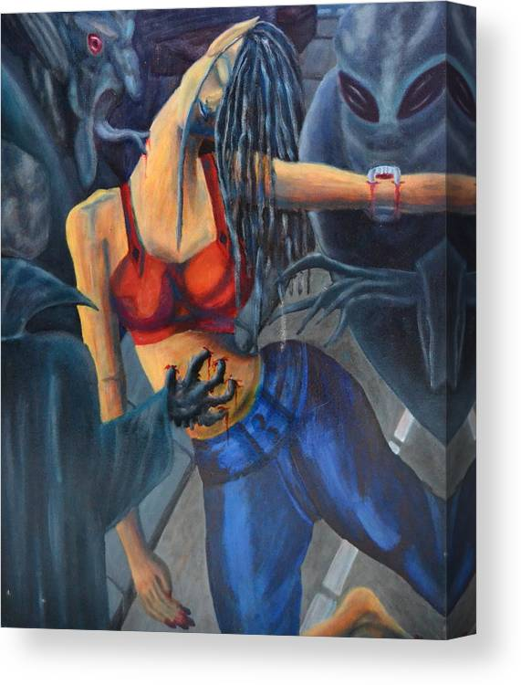 Woman Canvas Print featuring the painting Nightmare On The Street Of San Francisco by Vykky Gamble