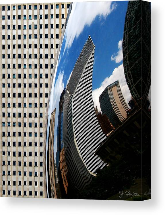 The Bean Canvas Print featuring the photograph Reflected City by Joe Bonita