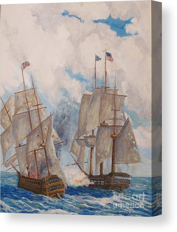 Battle Canvas Print featuring the painting Sea Battle-war Of 1812 by Philip Lee