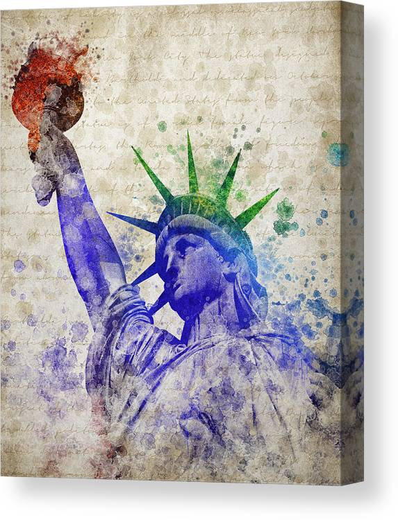 Statue Of Liberty Canvas Print featuring the digital art Statue Of Liberty by Aged Pixel