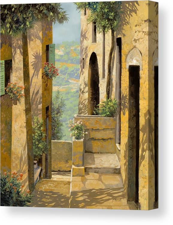 Landscape Canvas Print featuring the painting stradina a St Paul de Vence by Guido Borelli
