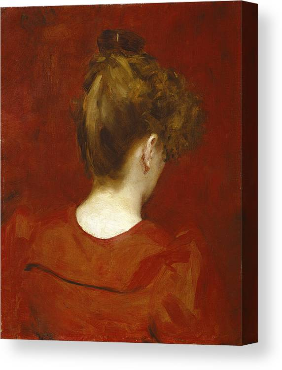 Female; Bun; Top Knot; Red; Neck; C19th; C20th; Rear View; Back View; Nape; Hair; Coiffure Canvas Print featuring the painting Study Of Lilia by Charles Emile Auguste Carolus Duran