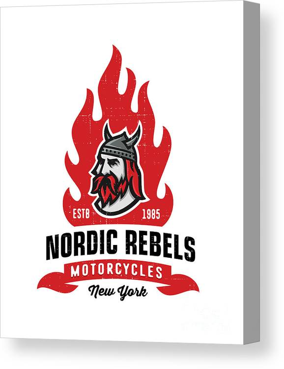 College Canvas Print featuring the digital art Vintage Nordic Rebels Motorcycles by Tortuga