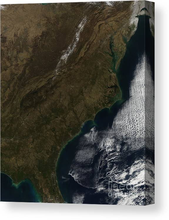 Coast Canvas Print featuring the photograph Satellite View Of The Southeastern by Stocktrek Images