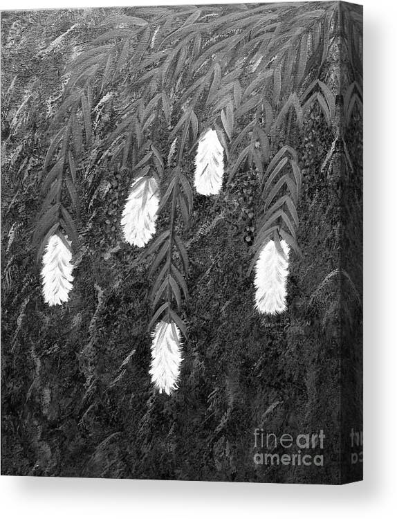 Bottlebrush Plant Canvas Print featuring the painting Bottlebrush Plant B W by Barbara Griffin