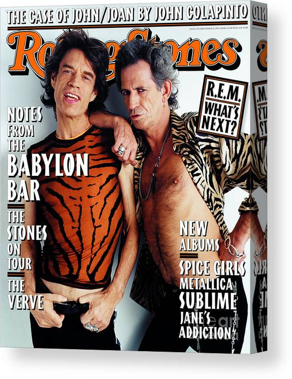 Mick Jagger And Keith Richards Canvas Print featuring the photograph Rolling Stone Cover - Volume #775 - 12/11/1997 - Mick Jagger And Keith Richards by Mark Seliger