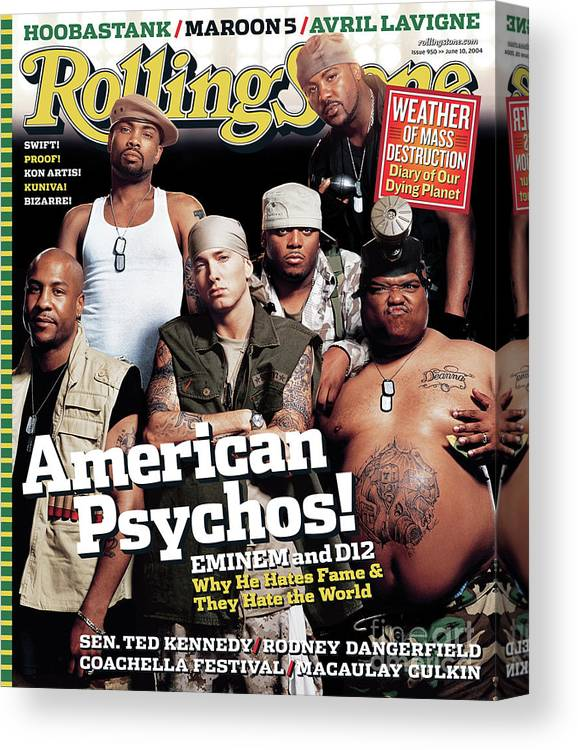 Eminem Canvas Print featuring the photograph Rolling Stone Cover - Volume #950 - 6/10/2004 - Eminem by Martin Schoeller