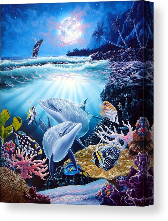 Dolphin Canvas Print featuring the painting Dolphin Dream by Daniel Bergren