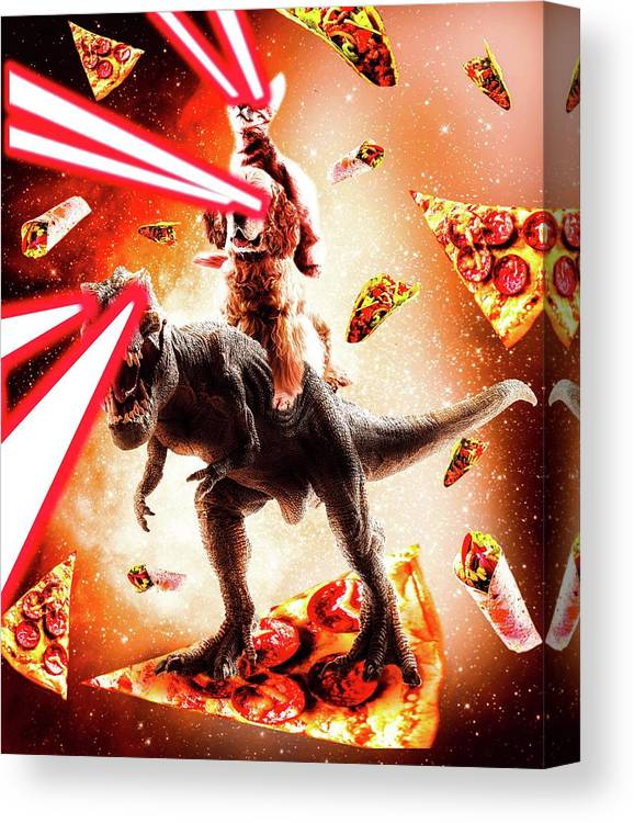 Cat Canvas Print featuring the digital art Laser Eyes Space Cat Riding Dog And Dinosaur by Random Galaxy