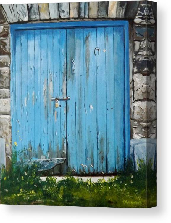 Door Canvas Print featuring the painting The Blue Door by Tony Gunning