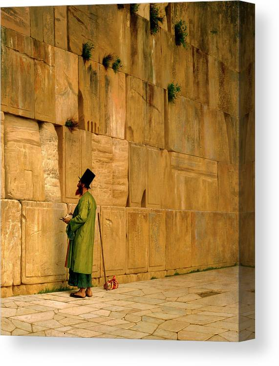 Gerome Jean-leon Canvas Print featuring the painting The Wailing Wall by Jean-Leon Gerome