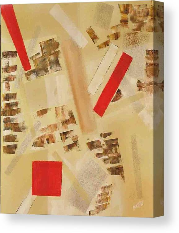 Abstract Canvas Print featuring the painting 3 Red Objects by Evguenia Men
