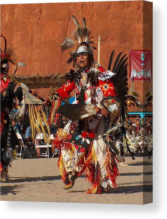 Native American Canvas Print featuring the drawing Traditional Dancer by Tim McCarthy