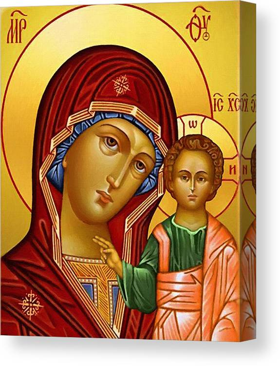 Virgin And Child Canvas Print featuring the digital art Virgin And Child Christian Art by Carol Jackson