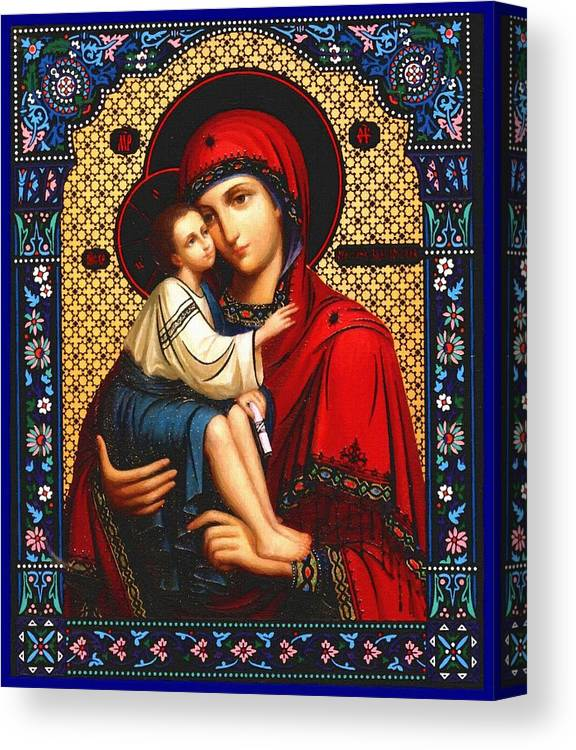 Virgin And Child Canvas Print featuring the digital art Virgin And Child Icon Religious Art by Carol Jackson