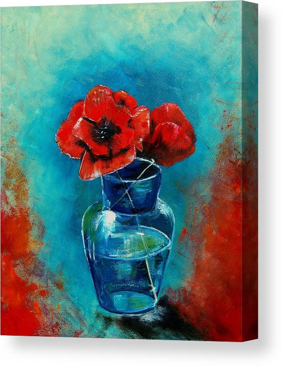 Flowers Canvas Print featuring the painting A Vase With Poppies by Veronique Radelet