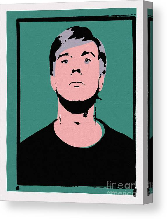 Andy Warhol Canvas Print featuring the painting Andy Warhol Self Portrait 1964 On Green - High Quality - Stamp Edition 2012 by Peter Potamus