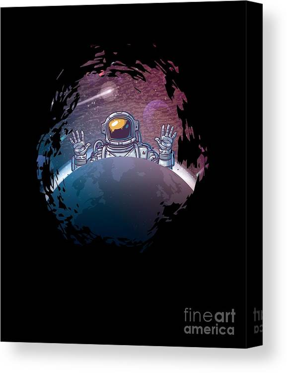 Milkyway Canvas Print featuring the digital art Astronaut Space Universe by Thomas Larch