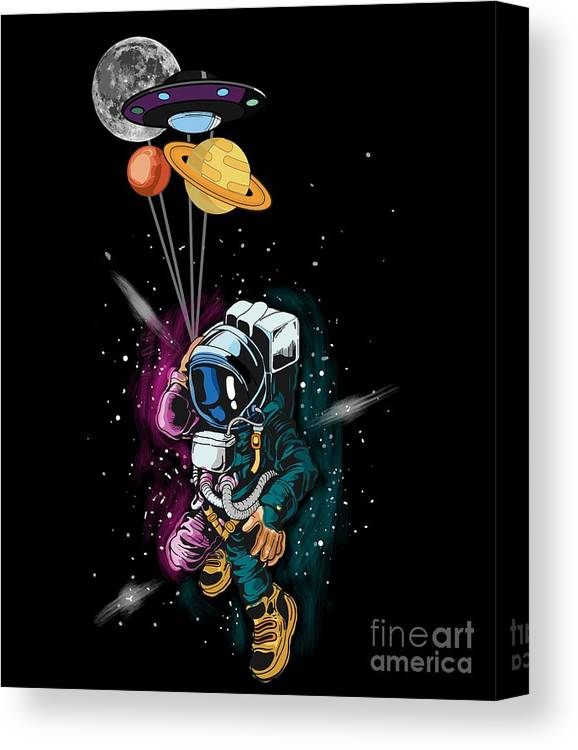 Galaxy Canvas Print featuring the digital art Astronaut Ufo Balloon Outer Space Shuttle by Thomas Larch