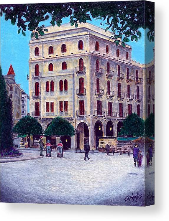 Landscape Canvas Print featuring the painting Beirut - Centre Ville by Joe Dagher