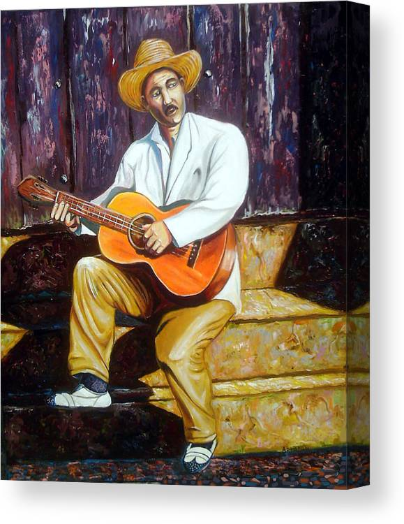 Cuban Art Canvas Print featuring the painting Benny by Jose Manuel Abraham