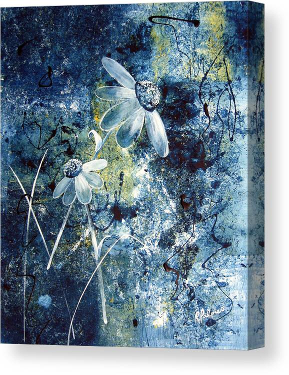 Abstract Canvas Print featuring the painting Blue Beauties by Ruth Palmer
