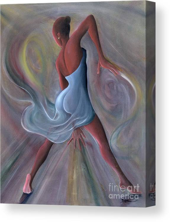 Female Canvas Print featuring the painting Blue Dress by Ikahl Beckford