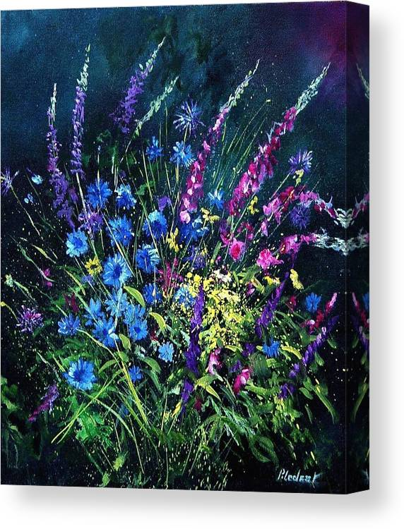 Poppies Canvas Print featuring the painting Bunch Of Wild Flowers by Pol Ledent