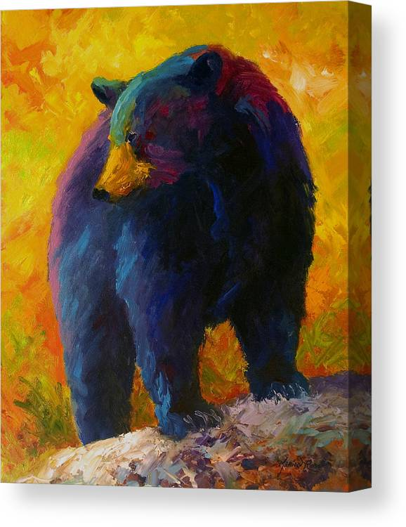 Western Canvas Print featuring the painting Checking The Smorg - Black Bear by Marion Rose