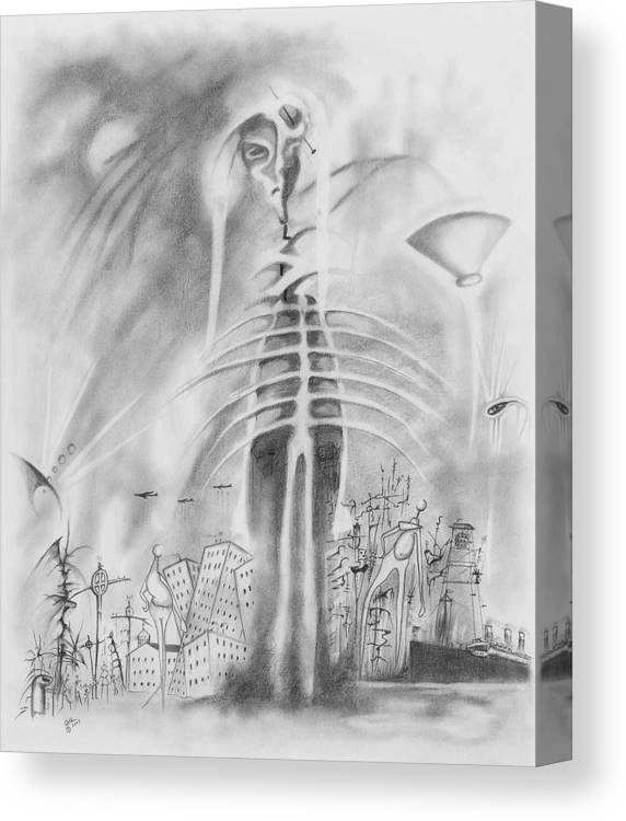 Skeleton Canvas Print featuring the drawing Decline Of Western Culture by Daniel Culver