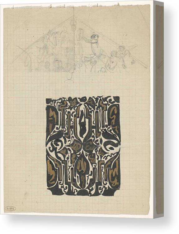 Pattern Canvas Print featuring the painting Decorative Design And Sketch Of The Front Tympanum Of The Royal Palace In Amsterdam, Carel Adolph Li by Carel Adolph Lion Cachet