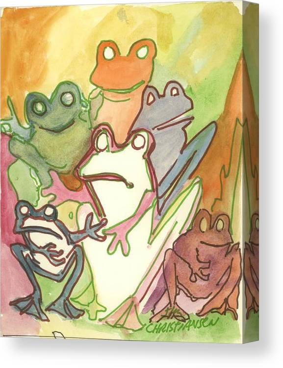 Frog Canvas Print featuring the painting Frog Group Portrait by James Christiansen