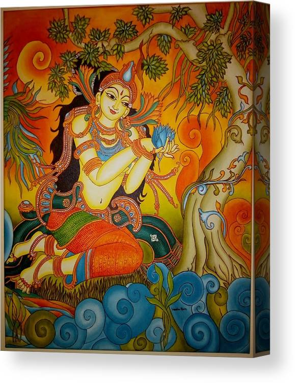 Kerala Mural Art Canvas Print featuring the painting Lady With A Lotus by Vaishnavi Ram